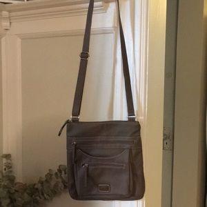 Rossetti Gray Tan leather cross body purse.